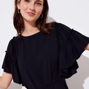 Black Loft flutter sleeve dress NWT